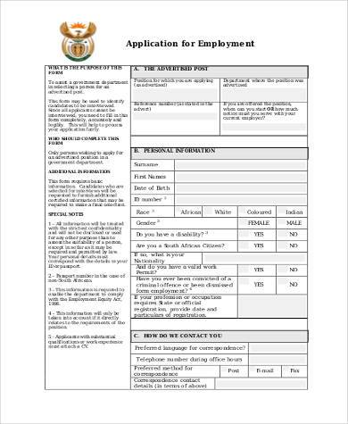 generic employment application form pdf