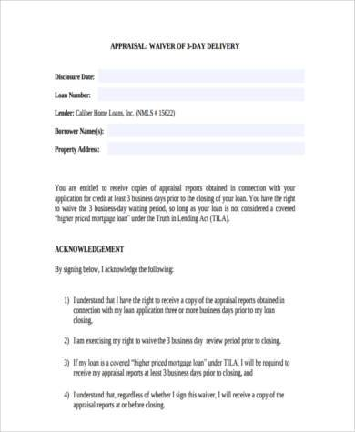 generic appraisal waiver form1