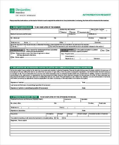 generic authorization request form