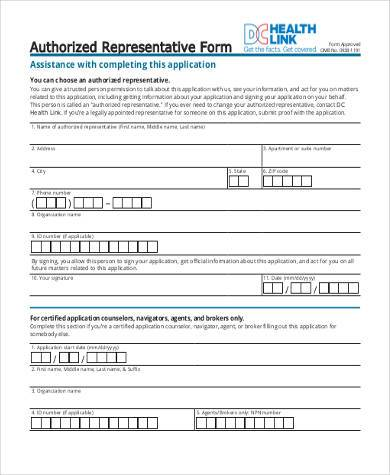 generic authorized representative form