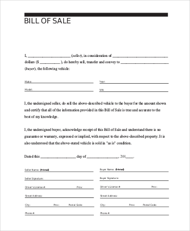 Auto Bill Of Sale Form Sample   Free Documents In Pdf