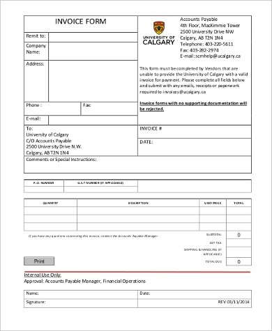 Sample Generic Invoice Form   Free Documents In Word Pdf