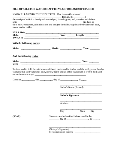 generic boat bill of sale form