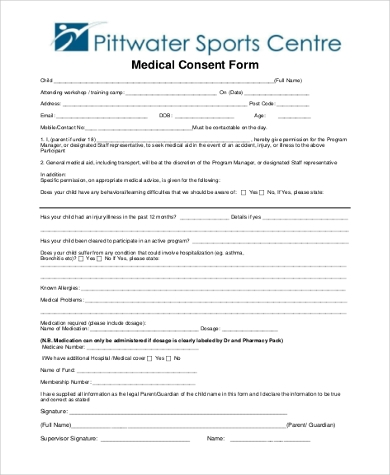 generic child medical consent form