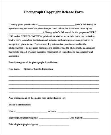 generic copyright photo release form