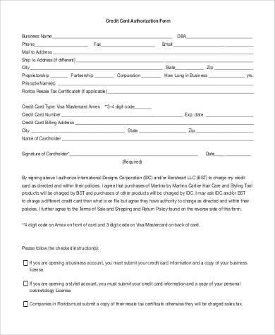 generic credit authorization form