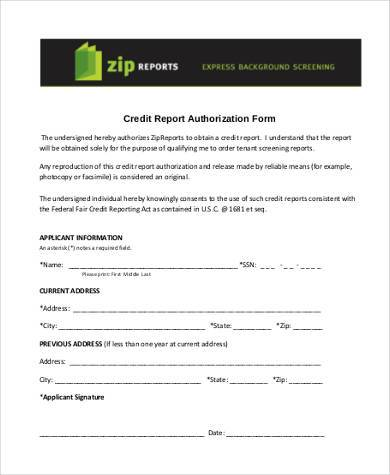 Sample Credit Report Authorization Forms   Free Documents In