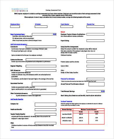 generic earnings assessment form