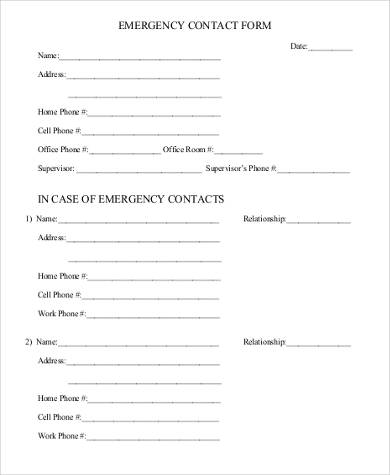 generic emergency contact form