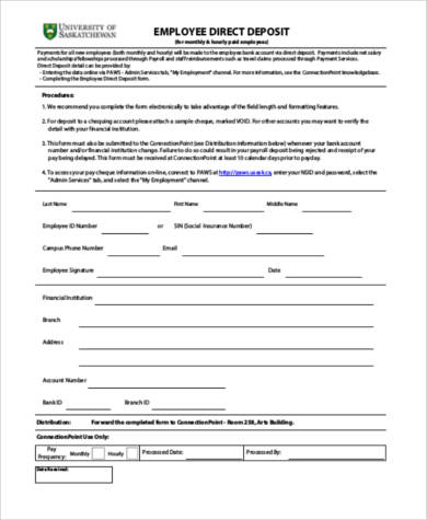generic employee direct deposit form