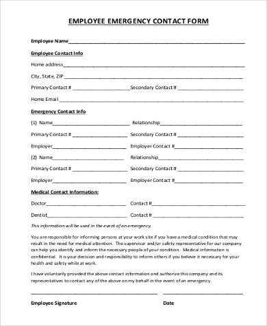 Sample Employee Emergency Contact Form   Free Documents In Word