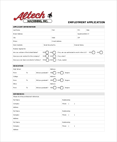generic employment application in pdf