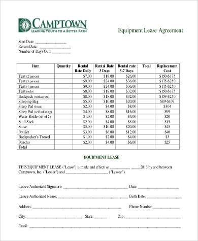 generic equipment lease agreement
