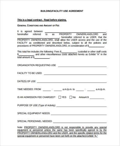 generic facility agreement form