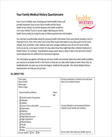 generic family medical history form