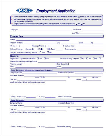 generic fillable employment application form