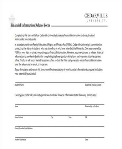 generic financial information release form