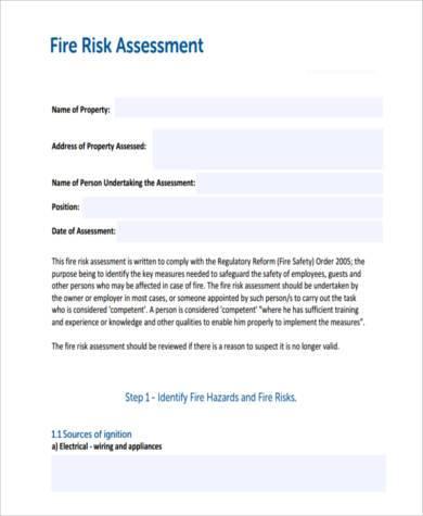 generic fire risk assessment form1