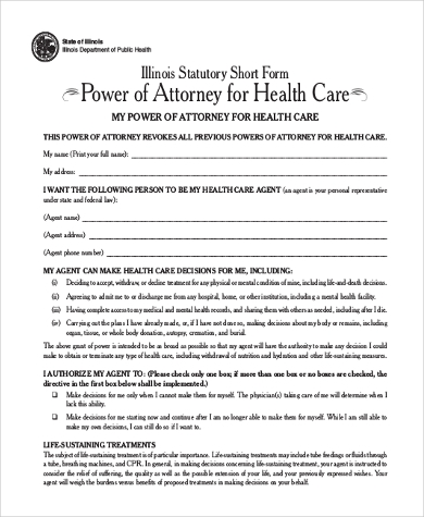 generic health care power of attorney form