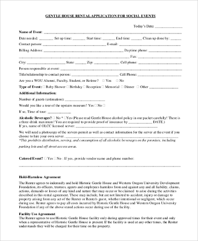 generic house rental application