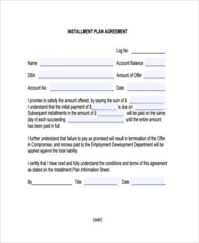 Installment agreement form samples 8 free documents in word pdf generic installment agreement form platinumwayz