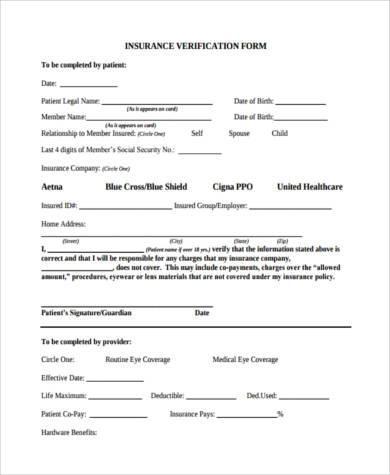 generic insurance verification form