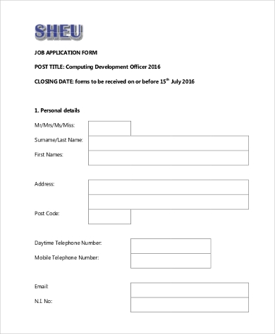 Job Application Form Samples - 9+ Free Documents In Word, Pdf