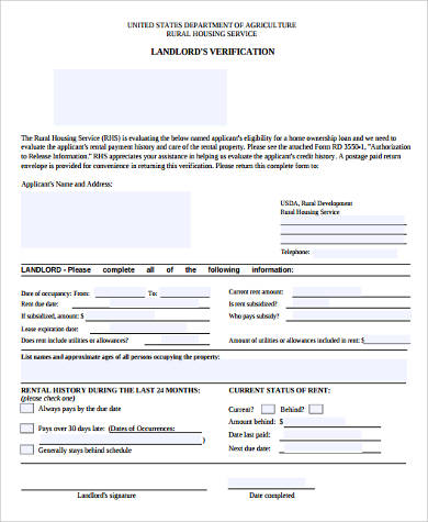 generic landlord verification form