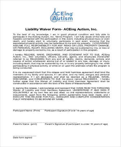 Generic Liability Waiver Form  Basic Liability Waiver Form
