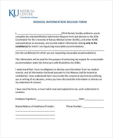 Sample Medical Information Release Forms   Free Documents In