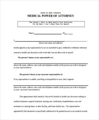 generic medical power of attorney form