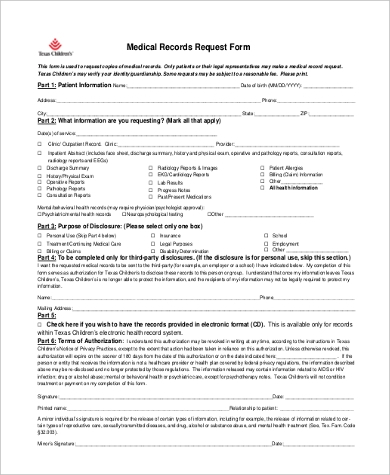 generic medical records request form Sample Medical Records Request Form - 9  Free Documents in PDF