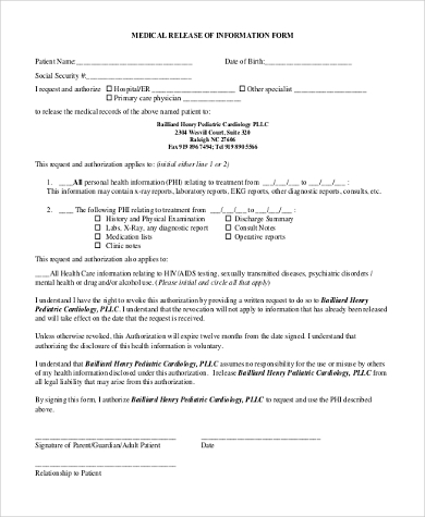 generic medical release of information form