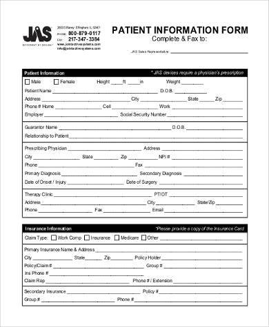 generic patient information form