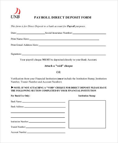 generic payroll direct deposit form