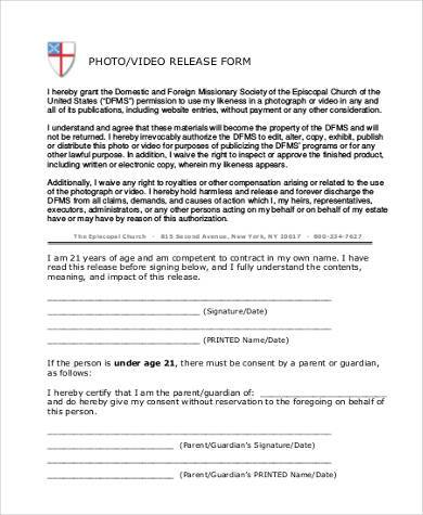 generic photo video release form