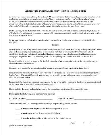 generic photo waiver release form