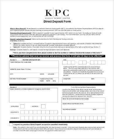 generic printable direct deposit form