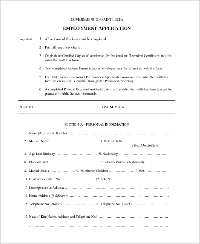 Generic Employment Application Form Samples   Free Documents In