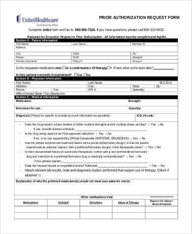 generic prior authorization form