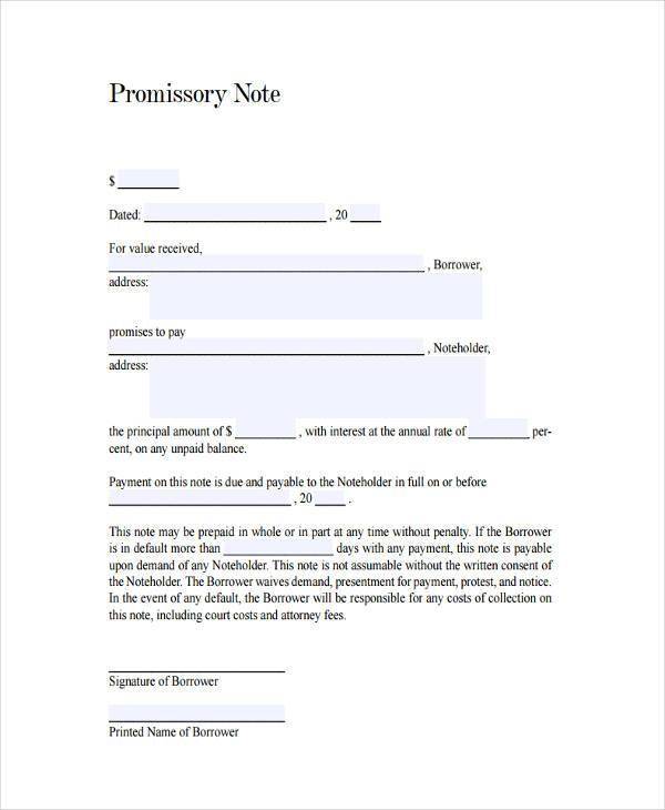 generic promissory note agreement form