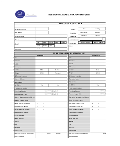 generic residential lease application