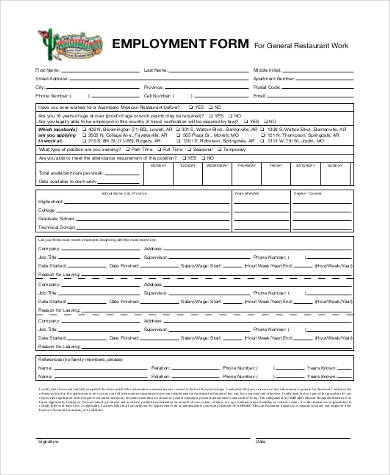 Sample Generic Application Forms For Employment   Free
