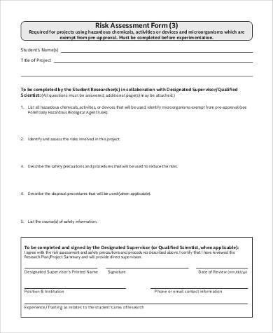 generic risk assessment form free