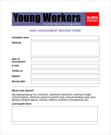generic risk assessment record form