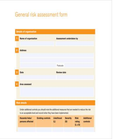 generic risk assessment review form