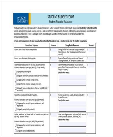 generic student budget form