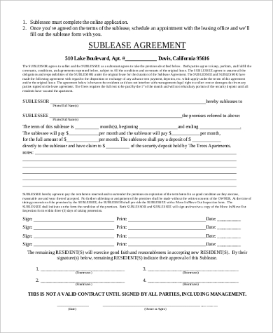 Sublease Agreement Form Sample   Free Documents In Word Pdf