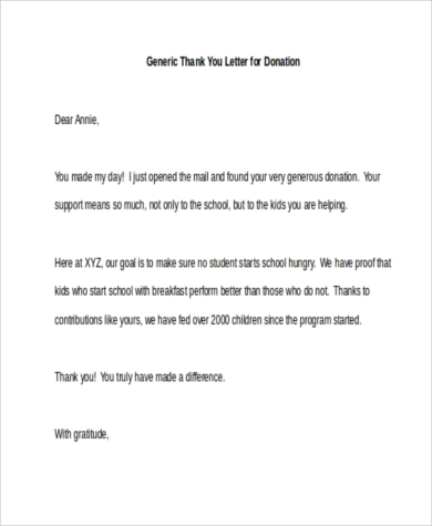 Generic Thank You Letter For Donation