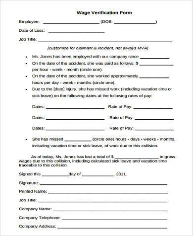 generic wage verification form